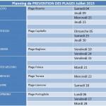Planning de PREVENTION DES PLAGES Juillet 2015 - AIUTU CORSU
